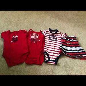 Other - Red White and Blue Bundle Onesie Dress Size 6m
